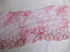 Feine Spitze mit Stickerei,rosa, 14 cm breit  S29.4