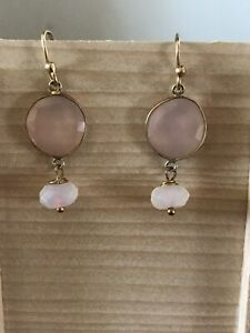Rose quartz and Gold Plated Drop Earrings 4cm long
