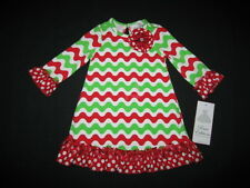 "NEW ""WAVY CHRISTMAS CHEVRON"" Dress Girls 2T Fall Winter Clothes Holiday"