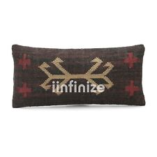 Kilim Pillow Cover Abstract Design Bohemian Wool Jute Hippie Brown Cushion 12x24