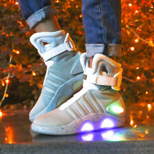 Men Leather BACK TO THE FUTURE WARRIOR Basketball Sneakers LED LIGHT Shoes Size