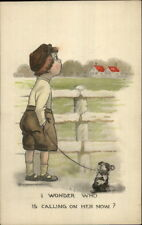 Lovesick Boy w/ Dog on Leash I WONDER WHO IS CALLING HER NOW? Postcard