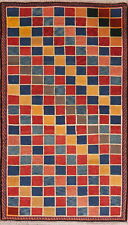One-of-a-Kind Color-full Checkers Kid's Room Area Rug Hand-Knotted Oriental 4x6