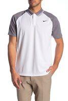 Nike Men's Golf Polo Shirt Dri-Fit Top White Grey Size 2XL Standard Fit New