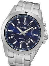 Seiko Mens SKA703 Kinetic Stainless Steel Case Blue Dial Watch