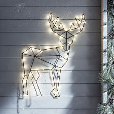 Battery Operated Geometric Reindeer Xmas Wall Light with Micro Warm White LEDs