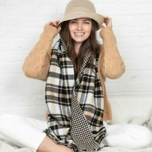 Charter Club Womens Plaid/Houndstooth Reversible Blanket Wrap, Black/White/Camel