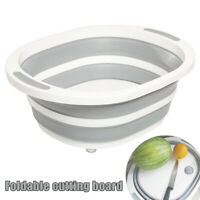 Folding Cutting Board With Basket Collapsible Dish Tub Drain Sink Storage Basket