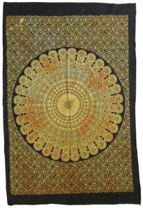 MANDALA Blume 110 x 75 cm Batiktuch Deckchen Wandbehang Dekotuch INDIEN Goa Tuch