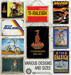 RETRO RALEIGH Cycling Collection Metal Wall Sign Bar Garage Shed Mancave Turbo