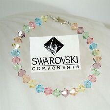 w Swarovski Austrian Crystal ~Rainbow Pastel Sterling Silver Bracelet~~ NEW Xmas