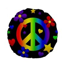 Rainbow Peace Sign Flowers Round Cushion Pillow RP1