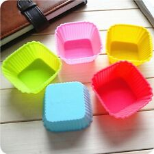 6Pcs Square Silicone Cake Muffin Mold Chocolate Cupcake Baking Cup Mould Random