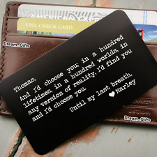 Keepsake Metal Engraved Wallet Insert Card Personalised Gifts for Him Men BF W10