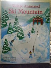 DEPARTMENT 56 VILLAGE SKI MOUNTAIN SLEDDING HILL SET USED NEEDS NEW MOTOR  w/BOX