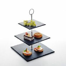 "3 Tier Square Stone Cake Stand 6""&8""&10"" Nature Slate Serving Set"