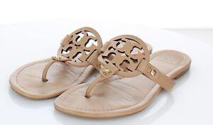 52-44 $198 Women's Sz 8.5 M Tory Burch Miller Leather Logo Flat Sandals