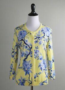 TALBOTS NWT $89 Yellow Blue Floral Cardigan Sweater Top Size Medium Petite