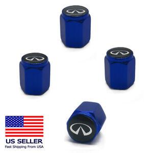 4PC Emblem Aluminum Alloy Wheel Tire Valve Air Cover Stem Caps For Infiniti BLUE