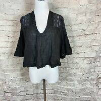 Free People Lina Lace Top Sz XS V Neck Short Sleeve Oversized Flowy Tunic Black