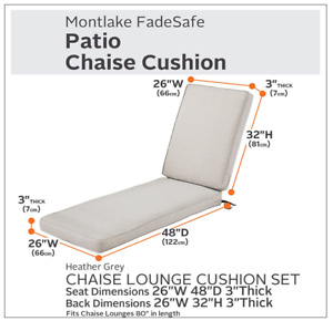"""Classic Accessories MONTLAKE Chaise Lounge Cushion 80x26x3"""" & Cover Heather Grey"""