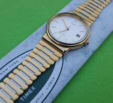 Rare Vintage TIMEX Gents watch - Calendar - Gold plated - NOS - Box & Papers