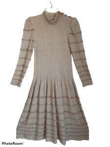 Vtg Albert Nippon Women's 2 Knit Drop Waist  Buttons Shift Midi Dress Edwardian