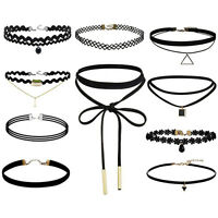 10X Choker Necklace for Women Girl Black Velvet Stretch Gothic Tattoo Lace