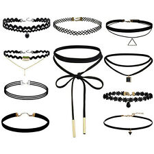Lot of 10 Choker Necklace for Women Girl Black Velvet Stretch Gothic Tattoo evG