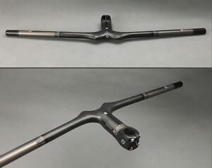 Carbon fiber MTB Road Bike Bicycle flat Handlebar 600-720 Integrated Bar Stem