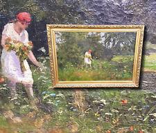 Junges Mädchen beim Blumen pflücken. Original altes antik Ölgemälde. Signiert.