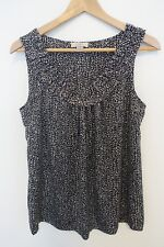 Anne Taylor Loft Tank Top, Size S, Black and White, Scoop Neck, Ruffle