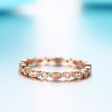 Natural SI2/H Diamonds Antique Band Solid 18k Rose Gold Anniversary Ring Gift