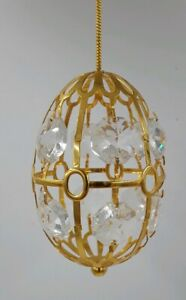 KG and C Inc. 24K Gold Plated Austrian Crystal Octagon Prism Oval Egg Ornament