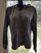 BCBG Women's Gray Hoodie Sz L Velour Zip Jacket Bling Logo Lightweight