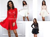 Glamzam New Womens Ladies Long Sleeve Lace Skater Swing Mini Party Sheer Dress