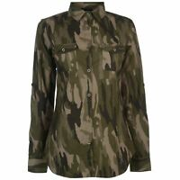 Golddigga Womens Long Sleeve AOP Shirt Casual Camouflage Print Chest Pocket Fold