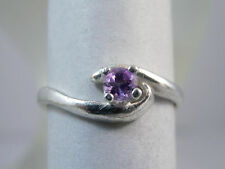 AMETHYST - Genuine Purple Petite Pinky February Birthstone .925 Sterling Ring