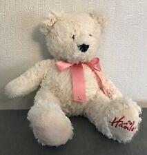 "Hamleys Cream Fluffy Teddy Bear Soft Toy Plush Pink Ribbon 12"" Collectable UK"