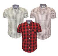 Ex UK Chainstore Men's Short Sleeve Check Cotton Summer Casual Shirt Tops
