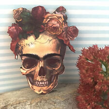 Frida Kahlo skull brooch Mexican goth badge jewellery Day of the dead wooden pin