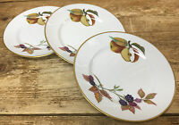 3 Bread Plates Evesham Gold Royal Worcester England Fruit White Porcelain 87901