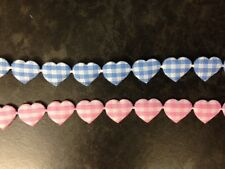 2 METRES BLUE PINK GINGHAM HEART RIBBON NEW BABY CARD MAKING CRAFT EMBELLISHMENT
