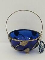 Vintage Sugar Bowl Condiment Cobalt Blue Glass Silverplate Holder England