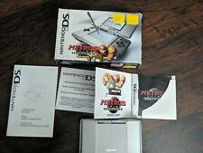 Original USA First Gen Nintendo DS Fat Silver System Box. Metroid Prime Hunters