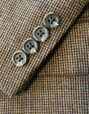 46 L Mens Brown Green WOOL TWEED Chaps Suit Jacket Blazer Sportcoat LONG Fully L