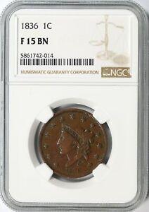 1836 Large Cent 1c NGC F15BN