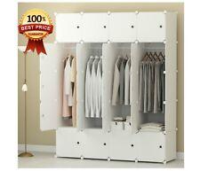 Portable Clothes Closet Wardrobe Bedroom Armoire Storage Organizer Durable White