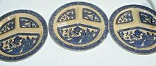 3 Blue Willow Antique Divided Grill Dinner Plate Made In England LOT