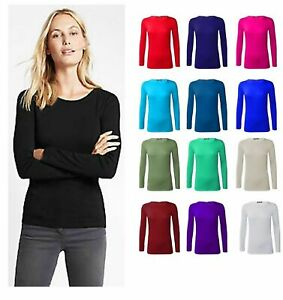 Womens Plain Tshirt Ladies Long Sleeve Scoop Neck T Shirt Top Plus Size 8-26
